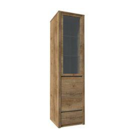 Vitrín szekrény 1- kihúzható fiókkal és osztot ajtóval-teljessen üvegezett