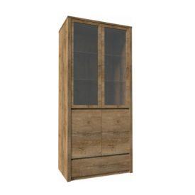 Vitrín szekrény 1- fióko és 2 osztot ajtóval  teljessen  üvegezett