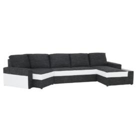 U alakú sarok-ülőgarnitúra fehér textilbőr/fekete szövet