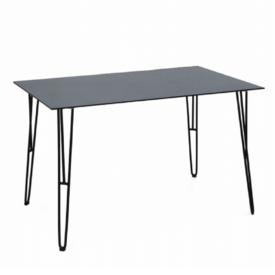 Étkezőasztal edzett üveg/fekete fém